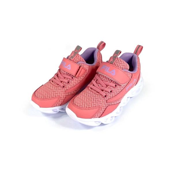 《FILA》兒童 輕量慢跑鞋 粉紫 3-J801U-559