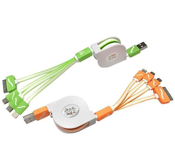 【鼎立資訊】G83 G速1:4快速充電便利捲線 micro 充電線 i6/i7充電線 多合一充電線 4合1扁線1米