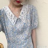 陸小團團氣質小清新蕾絲娃娃領雪紡碎花藍色油畫裙長裙洋裝女夏 錢夫人小鋪