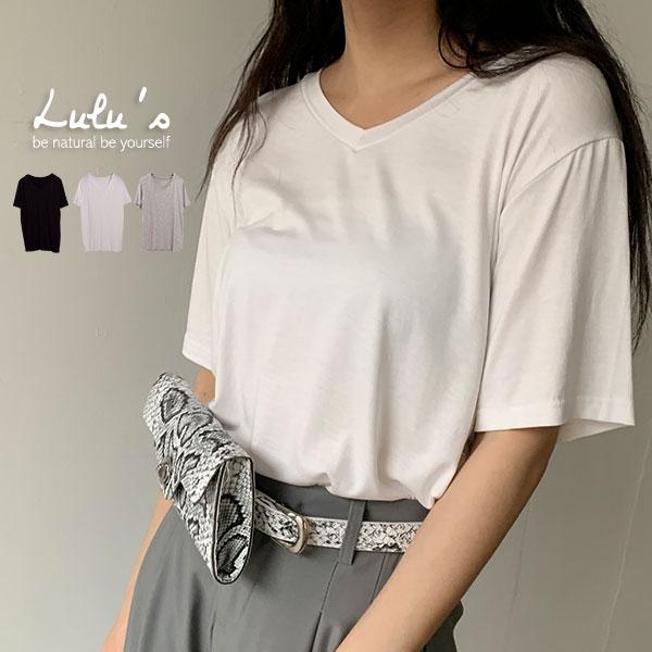 LULUS-L韓製-軟料V領短袖T恤-3色  【01020779】