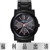 【台南 時代鐘錶 GOTO】GC1360B-33-341 藍寶石三眼陶瓷時尚腕錶男錶 黑 39mm