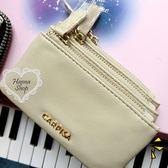 《花花創意会社》外流.三層拉鏈分層米色零錢卡包【H5435】