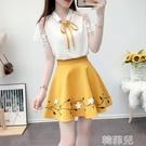 兩件套洋裝 小清新氣質女神范減齡套裝裙夏季網紅洋氣雪紡襯衫半身短裙兩件套 韓菲兒