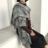 圍巾 英倫風經典格紋流蘇大披巾披肩 韓 預購【82-20-8920】ibella 艾貝拉