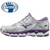 【MIZUNO 新品上市/促銷8折】MIZUNO (女) WAVE SKY (W) 寬楦女慢跑鞋  /  銀紫