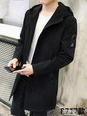 男士中長款新款春秋季外套男裝夾克韓版潮流修身休閒衣服    原本良品