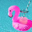 #飲料座#火鶴小粉鶴充氣飲料泳圈#水上飲料架