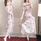 平口洋裝/一字領 一字肩連身裙女2021年春夏季新款超仙法式收腰夏天雪紡碎花長裙子