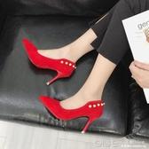 單鞋女秋百搭尖頭中跟少女高跟鞋細跟紅色婚鞋黑色工作鞋 深藏blue
