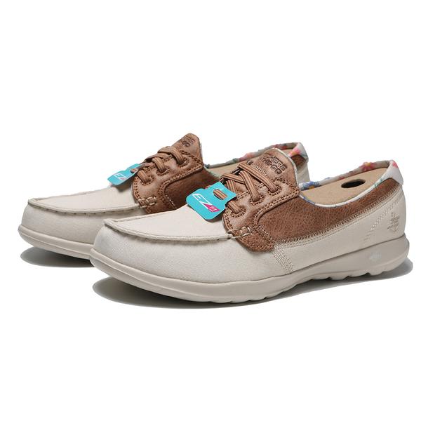 SKECHERS 休閒鞋 GO WALK LIKE 卡其 皮革 花卉 帆船鞋 女(布魯克林) 136098TPE