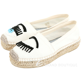 Chiara Ferragni Flirting 串珠眨眼帆布草編鞋(白色)1920144-20
