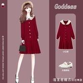 大碼胖mm秋裝2020年減齡顯瘦娃娃領紅色喜慶連衣裙洋氣遮肉小紅裙 美眉新品