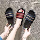 拖鞋女夏時尚外穿韓版百搭一字拖厚底防滑沙灘鞋海邊度假平底涼拖