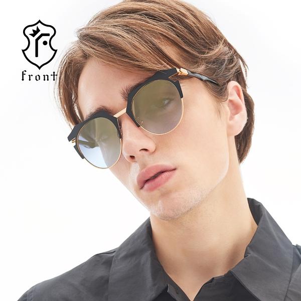 【Front 太陽眼鏡】Over-time-三色可挑選(#時尚造型眉框太陽眼鏡/墨鏡)