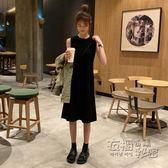 新款韓版中長款背心裙過膝裙子連身裙女春夏季高腰打底小黑裙 創意家居生活館