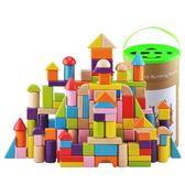 兒童大塊積木桶裝1-2-3-6周歲益智早教嬰兒寶寶男女孩木頭玩具