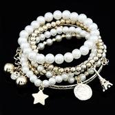 【01083】 復古珍珠吊墜六件套組手環《FM-K1041》