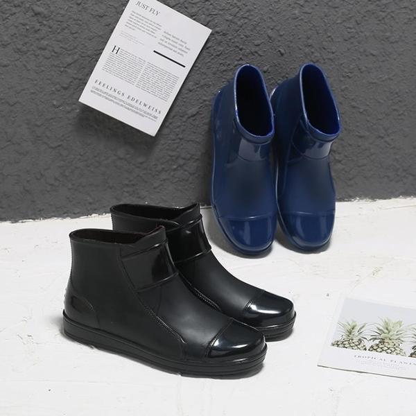 雨靴 短筒雨鞋男潮時尚外穿防滑厚底耐磨雨靴廚房工作水鞋防水靴膠鞋女-Ballet朵朵