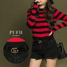 (現貨)PUFII-皮帶 時尚雙G字母金屬釦環皮帶 2色-1109 現+預 秋【CP13750】
