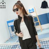 運動套裝--休閒運動女孩素面撞色滾條雙口袋運動外套(黑XL-4L)-J292眼圈熊中大尺碼