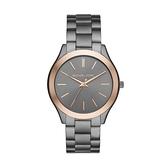 【Michael Kors】美式經典玫金錶圈簡約鋼帶腕錶-鋼鐵灰/MK8576/台灣總代理公司貨享兩年保固