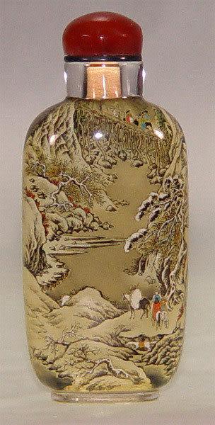 居家開運典藏水晶內畫-鼻煙壺【劍閣圖】( 精工內畫、薄胎、瑪瑙蓋)