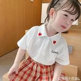 小布丁童裝新款兒童夏季白襯衫寶寶學院風襯衣女童洋氣上衣薄 中秋特惠