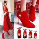 冬天婚鞋女2020年新款細跟加絨紅色高跟短靴結婚新娘鞋冬季婚靴子 小艾新品