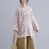 豹紋燈籠袖毛衣女秋冬新款韓版寬鬆大尺碼顯瘦時尚長袖套頭針織上衣‧復古‧衣閣