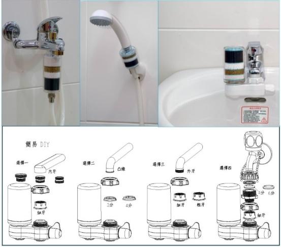 淨水器濾心除氯蓮蓬頭沐浴器Y2*3支+A1型水龍頭過濾器*1組+更換濾心*2支(056)【七星淨水】