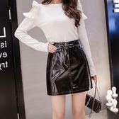 大韓訂製女裝韓版高腰顯瘦A字包臀裙pu亮皮皮裙女