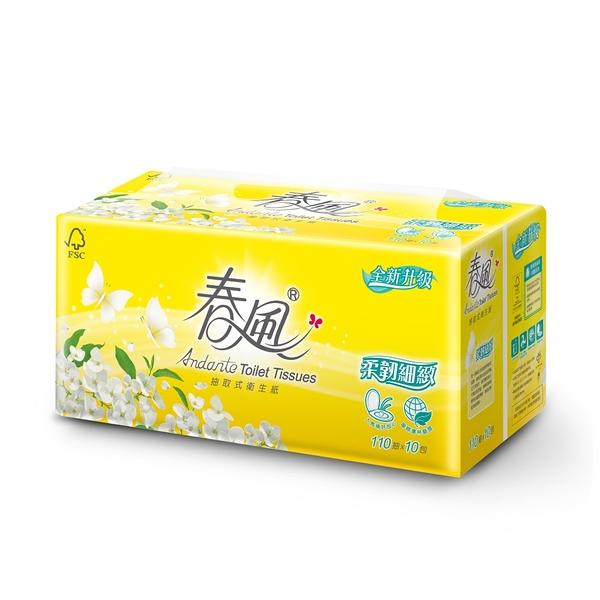 【春風】抽取式衛生紙-柔韌細緻 110抽x10包x6串/箱