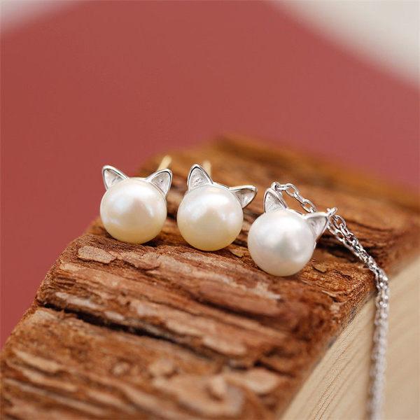 Star 銀色系列 - 猫咪頭珍珠鎖骨鏈 (s925純銀)-B5