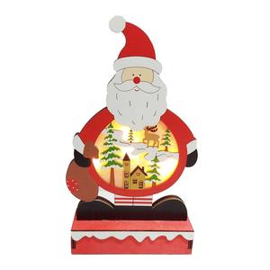 摩達客木質製彩繪聖誕老公公造型聖誕夜燈擺飾 (電池燈)