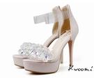 高跟涼鞋 華麗水鑽透明一字蘿莉風 高跟鞋 晚宴鞋 新娘鞋 *Kwoomi-A71