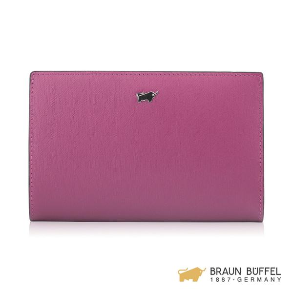 【BRAUN BUFFEL】美莉莎-III系列11卡兩折中夾 -粉紫 BF651-403-BO