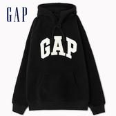 Gap男裝保暖抓絨Logo套頭連帽衫492435-純正黑