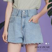 單寧 短褲 Space Picnic|高腰三排扣設計單寧短褲(現+預)【C18051098】