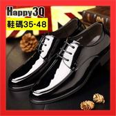 【火速出貨】尖頭漆皮亮面商務開會出差上班鞋新郎鞋伴郎鞋大尺碼男鞋-黑48【AAA2257】