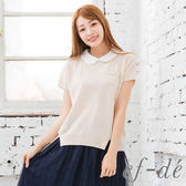 【ef-de】漢神春夏 蕾絲領背橫紋短袖針織衫(米黃)