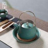 泡茶壺復古茶壺小提梁壺日式銅把陶瓷功夫茶具溫茶壺粗陶單壺泡茶器