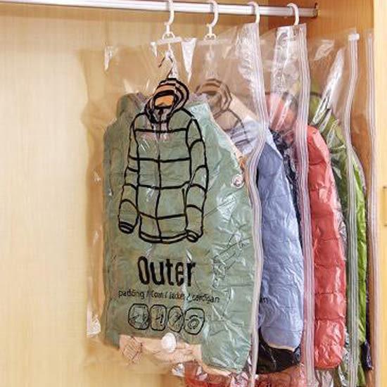 ♚MY COLOR♚  側拉可掛式真空收納袋(中) 壓縮袋 整理 收納 整理袋 衣物防塵罩 棉被【N225】