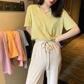 2021夏季新款寬鬆香芋紫色V領純色棉麻短袖t恤女網紅上衣ins超火 「雙10特惠」