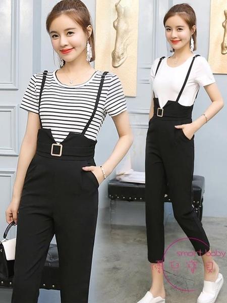 兩件套裝 背帶褲套裝新品夏裝女洋氣減齡輕熟風兩件式裝名媛夏季氣質【快速出貨】
