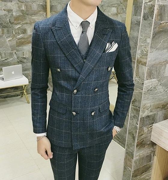 FINDSENSE品牌 韓國男 經典格紋 修身西裝 小西裝 西裝外套 單件外套