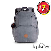 Kipling 經典素面灰後背包-大