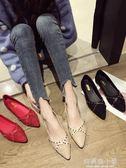 尖頭單鞋女冬新款韓版百搭淺口軟底平底黑色網紅淺口豆豆鞋子 好再來小屋