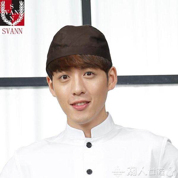 廚房帽帽子韓版男女同款防水面料廚師帽日式料理店餐廳工作帽飄帶帽 【四月特賣】