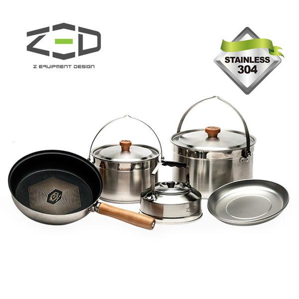 ZED 戶外兩人不鏽鋼鍋具組II M ZBACK0303 / 城市綠洲 (304不銹鋼、三層式鍋面、鑽石塗層、附贈收納袋)