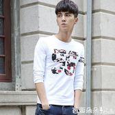 長袖T恤2017新款長袖T恤男士上衣服圓領衛生衣學生韓版潮流萊卡春秋打底衫 芭蕾朵朵